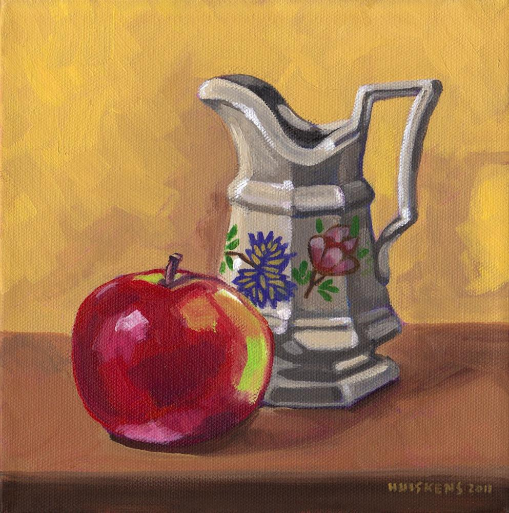 """""""Apple And Decorative Pitcher"""" original fine art by Randal Huiskens"""