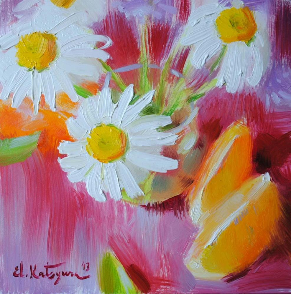 """Chamomile and Oranges"" original fine art by Elena Katsyura"