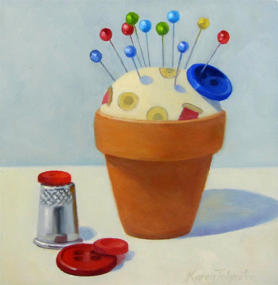"""Pin Cushion Pot"" original fine art by Karen Johnston"