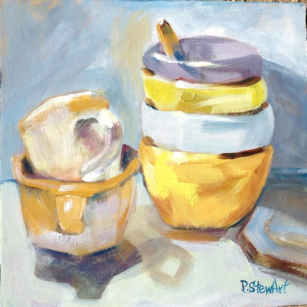 """8x8 Cups and Bowls Ala Prima Still Life wooden panel SFA Penny StewArt"" original fine art by Penny Lee StewArt"