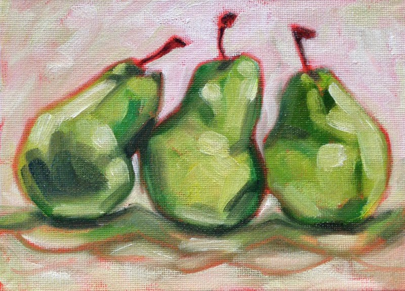 """Three-Pear Study II"" original fine art by Beth Moreau"