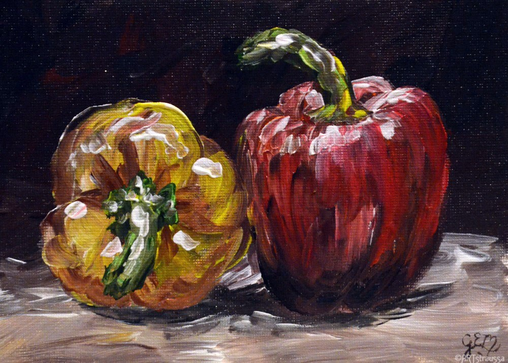 """Bell Pepper Couple"" original fine art by Gloria Ester"