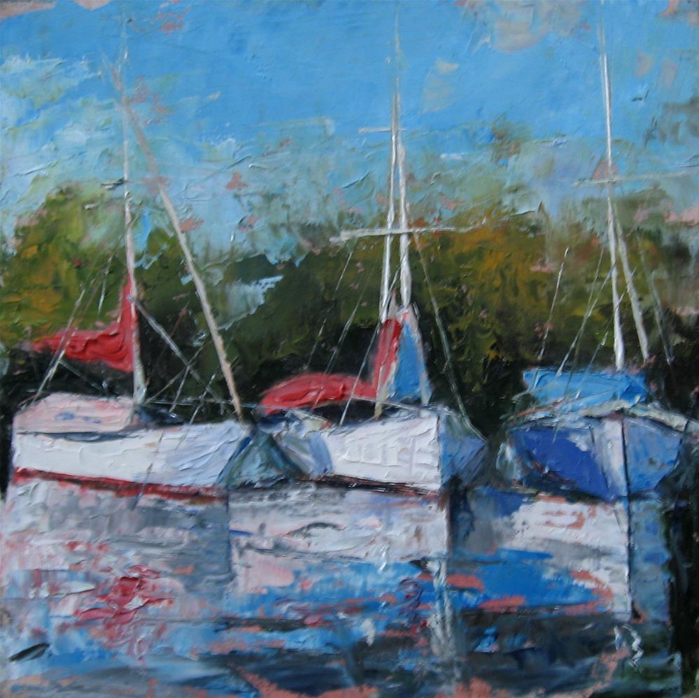 """3 sail boats in oil 8 x 8 inch"" original fine art by Linda Yurgensen"