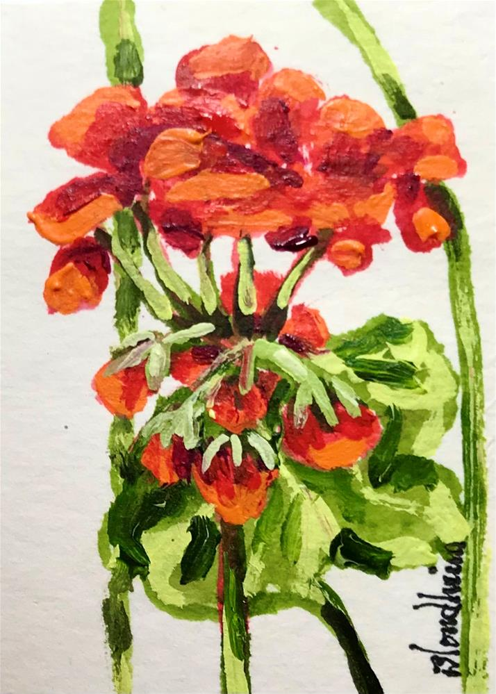 """""""Geraniums"""" original fine art by Linda Blondheim"""