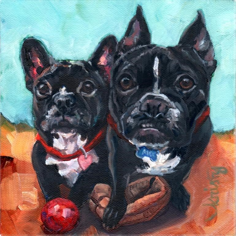 """""""IZZY and MAX"""" original fine art by Kristy Tracy"""
