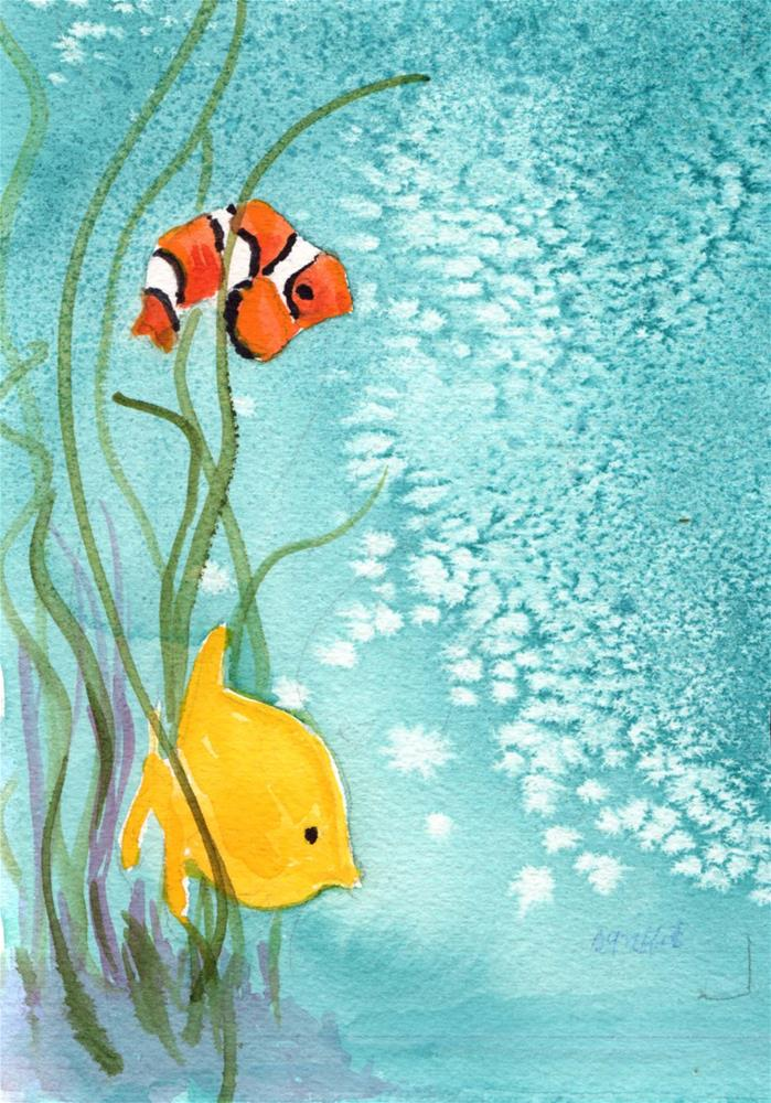 """""""Clown Fish and Yellow Fish"""" original fine art by Bunny Griffeth"""