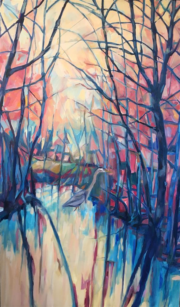 """""""Blue Heron"""" original fine art by Allison Doke"""