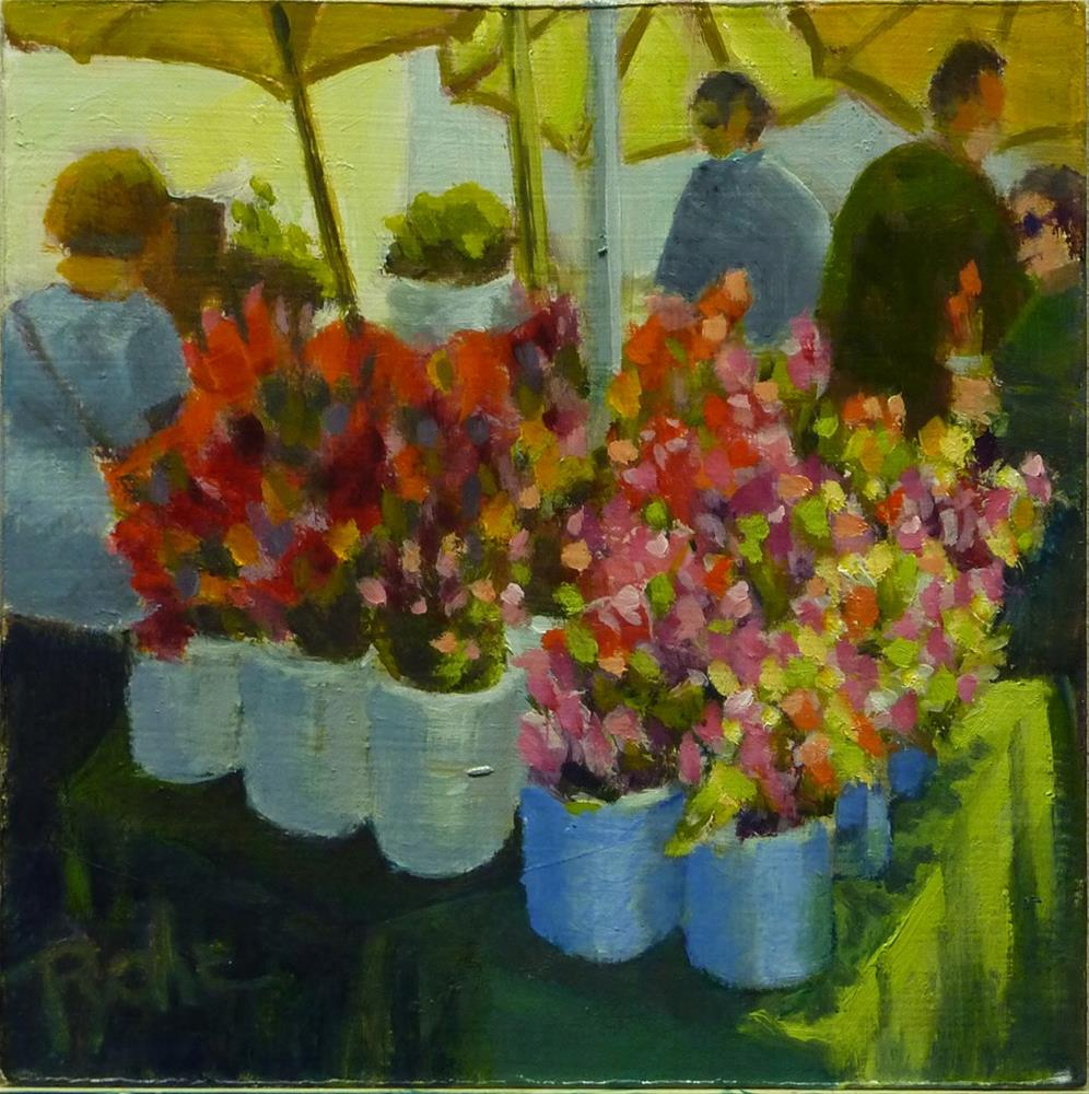 """Flower Market Day 6x6"" original fine art by Mary Pyche"
