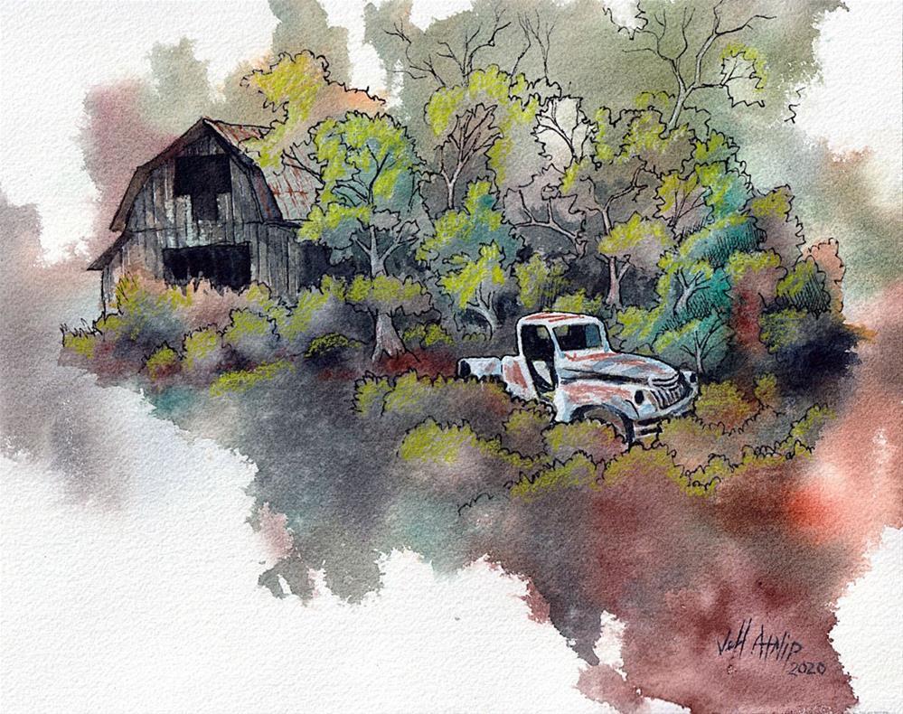 """Truck With Barn"" original fine art by Jeff Atnip"