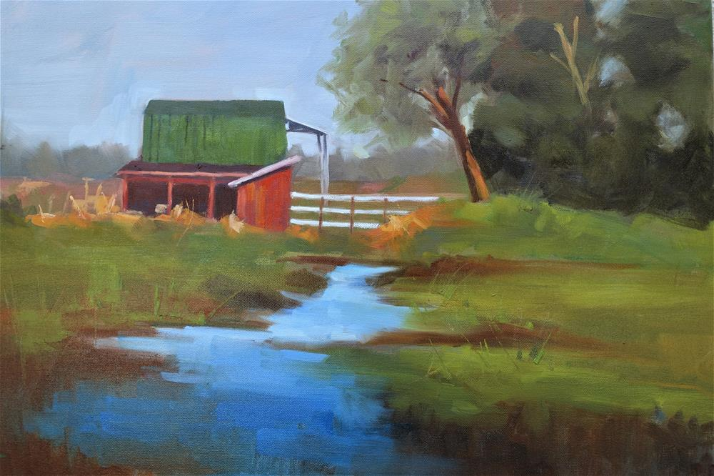 """Red Barn"" original fine art by Marlene Lee"