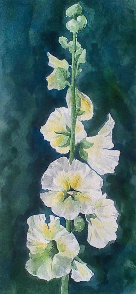 """Hollyhocks, study"" original fine art by Judith Freeman Clark"