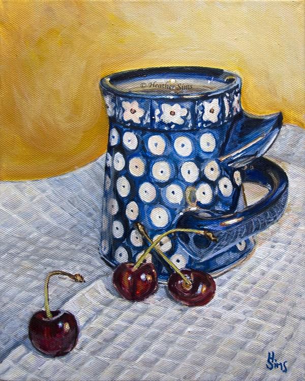 """Cherries: Polish Pottery LXXXVI"" original fine art by Heather Sims"
