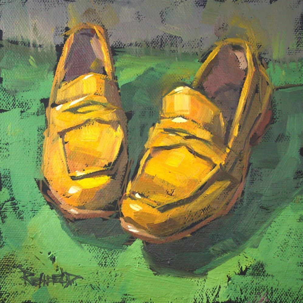 """The Yellow Fluevog Loafers"" original fine art by Cathleen Rehfeld"