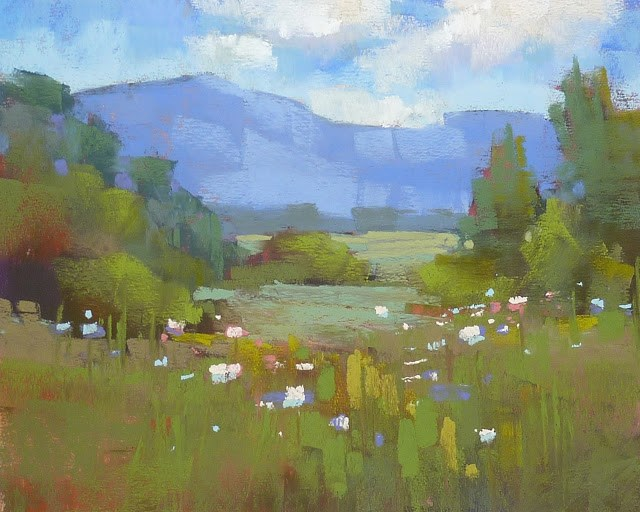 """New Pastel Demo Available...A Very Green Landscape"" original fine art by Karen Margulis"