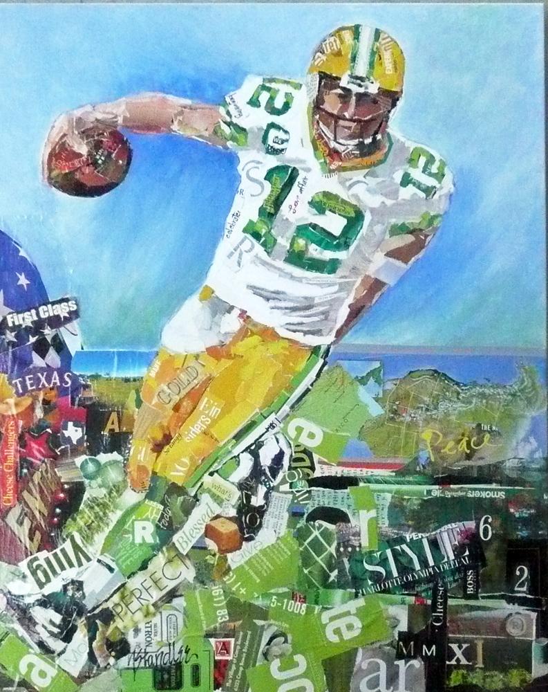"""Aaron Rodgers: Green Bay Packer 11002 SOLD"" original fine art by Nancy Standlee"