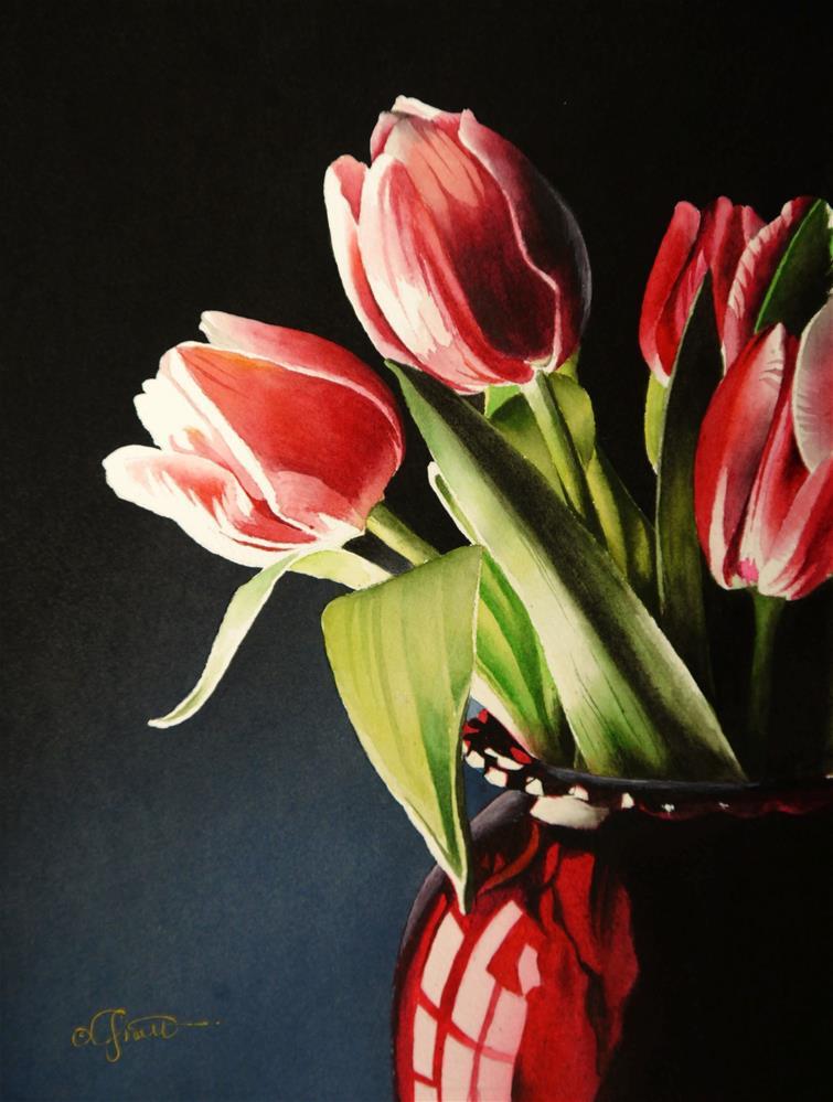 """Tulips in Red Vase"" original fine art by Jacqueline Gnott, TWSA, WHS"