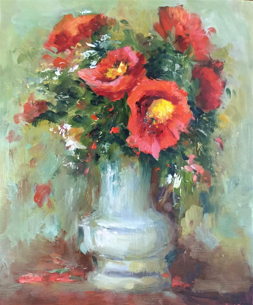 """Poppy still life oil painting Impressionism flower"" original fine art by Alice Harpel"