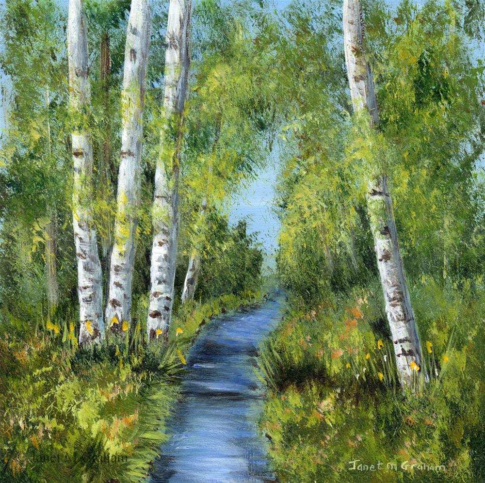 """Summer Birches"" original fine art by Janet Graham"