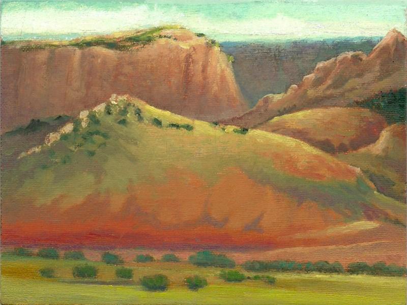 """""""Landscape Sketch 2 (Sandia Mts) Framed"""" original fine art by Carol L Adamec"""