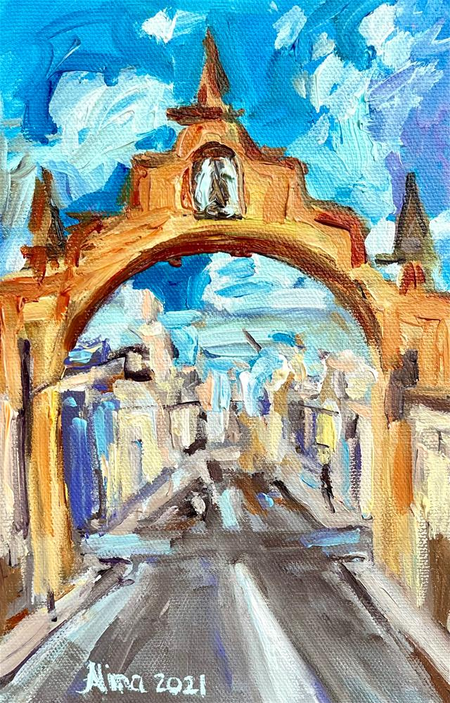"""Yellow Gate Merida"" original fine art by Alina Vidulescu"