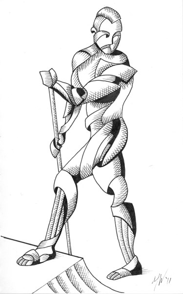 """Mark Webster - Jesse 07.04 - Abstract Nude Geometric Figurative Ink Drawing"" original fine art by Mark Webster"