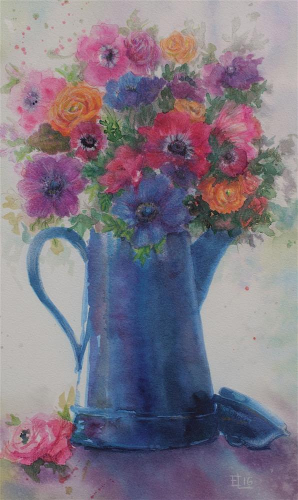 """Flowers In a Blue Pitcher"" original fine art by Emilia Leinonen"