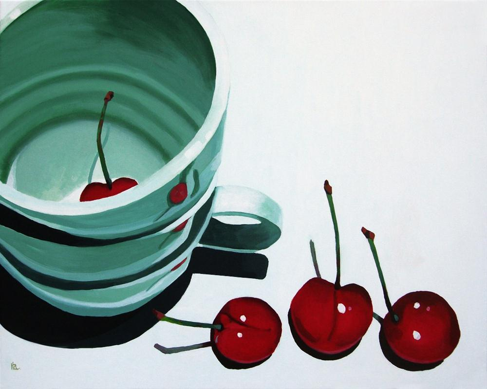 """cherries and coffee"" original fine art by Ria Hills"