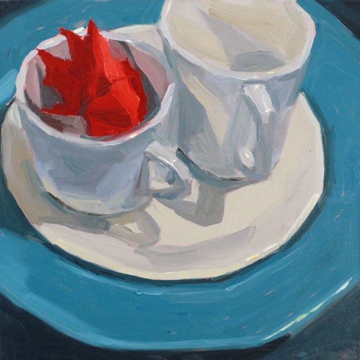 """Leaf and Cups2"" original fine art by Nealy May Riley"