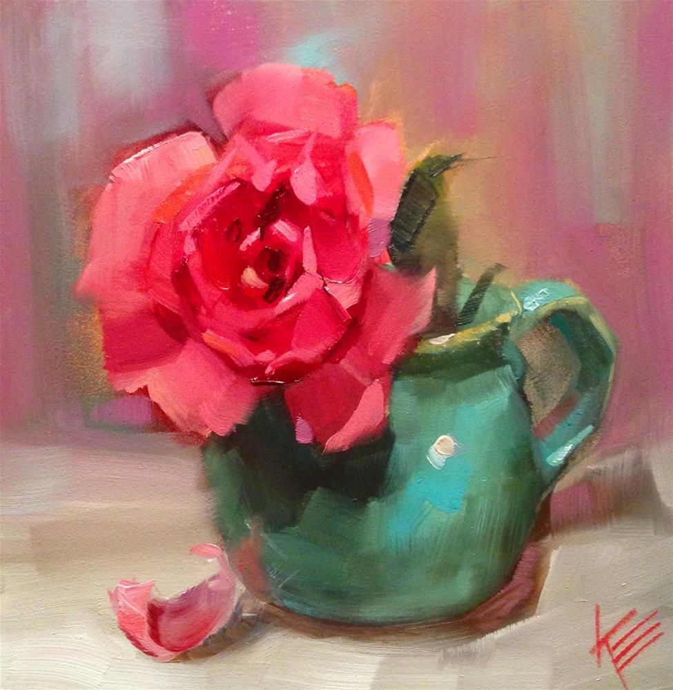 """Rose in Turquoise"" original fine art by Krista Eaton"