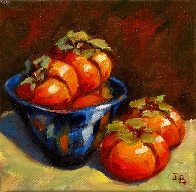 """Persimmons in Blue Bowl"" original fine art by Irina Beskina"