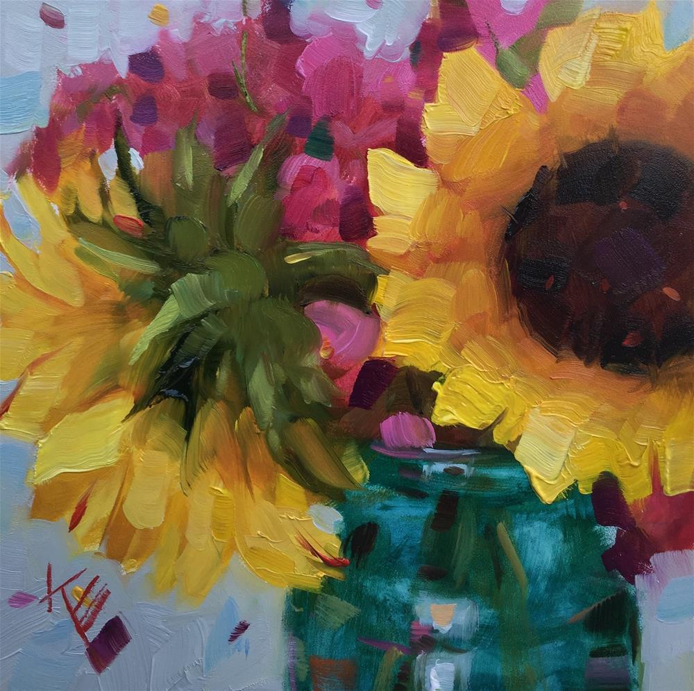 """Sunflowers in Tourquoise"" original fine art by Krista Eaton"