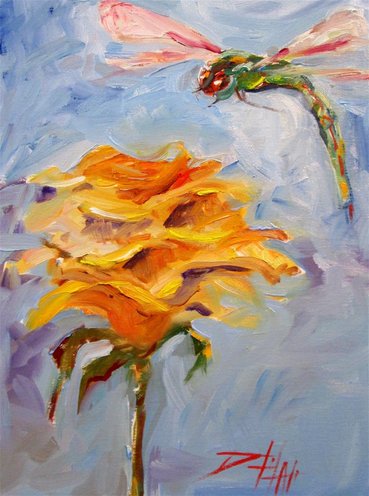 """Yellow Rose and Dragonfly"" original fine art by Delilah Smith"