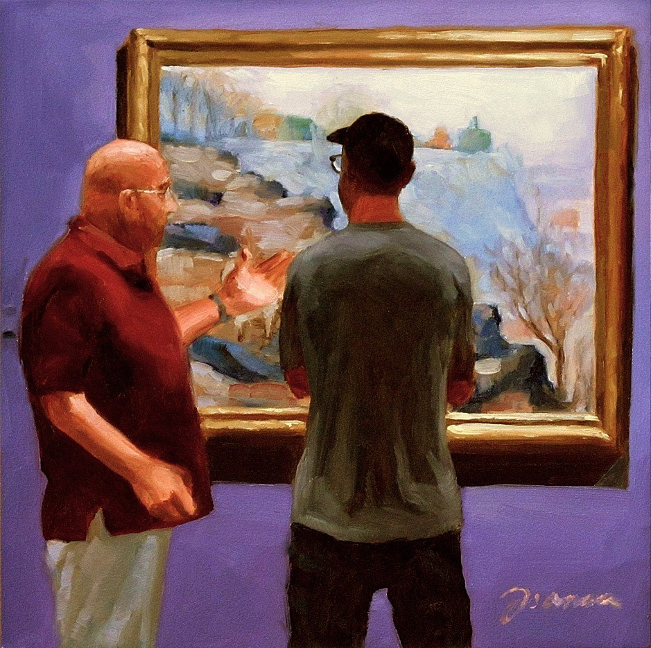 """Art Conversation-- Painting People in Museum/Gallery Series"" original fine art by Joanna Bingham"