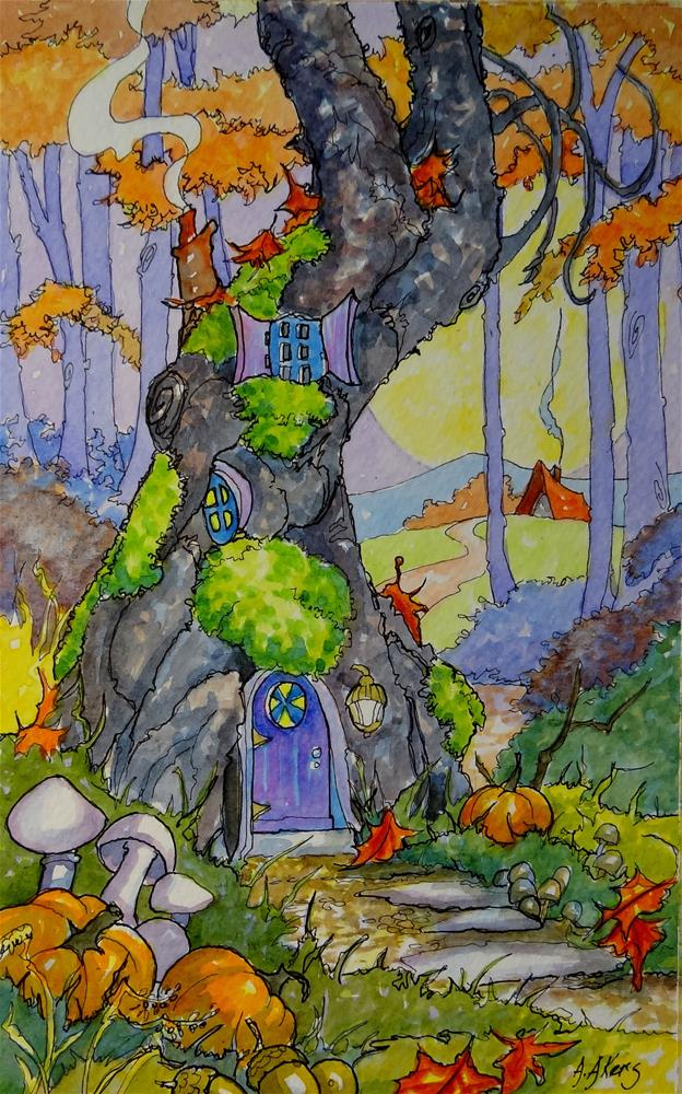"""""""Cozy in Autumn Storybook Cottage Series"""" original fine art by Alida Akers"""