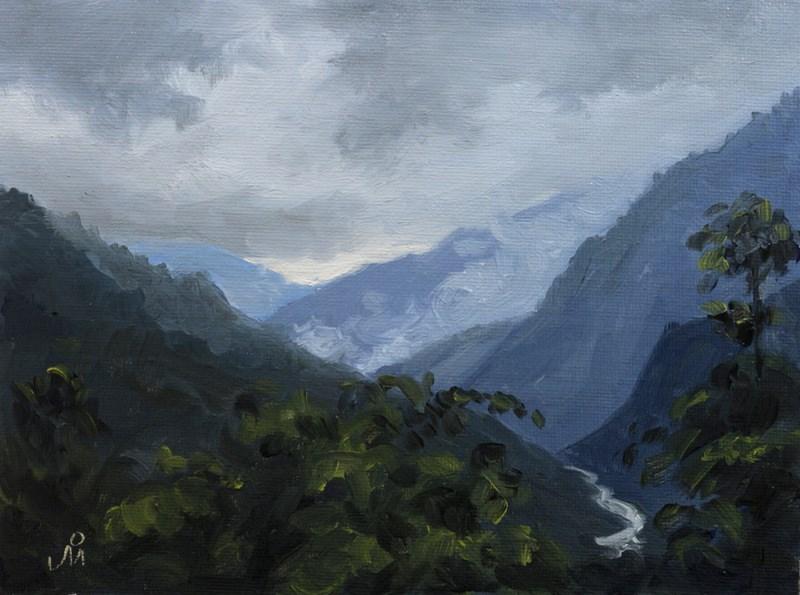 """Valley View - Lachung"" original fine art by Mandar Marathe"