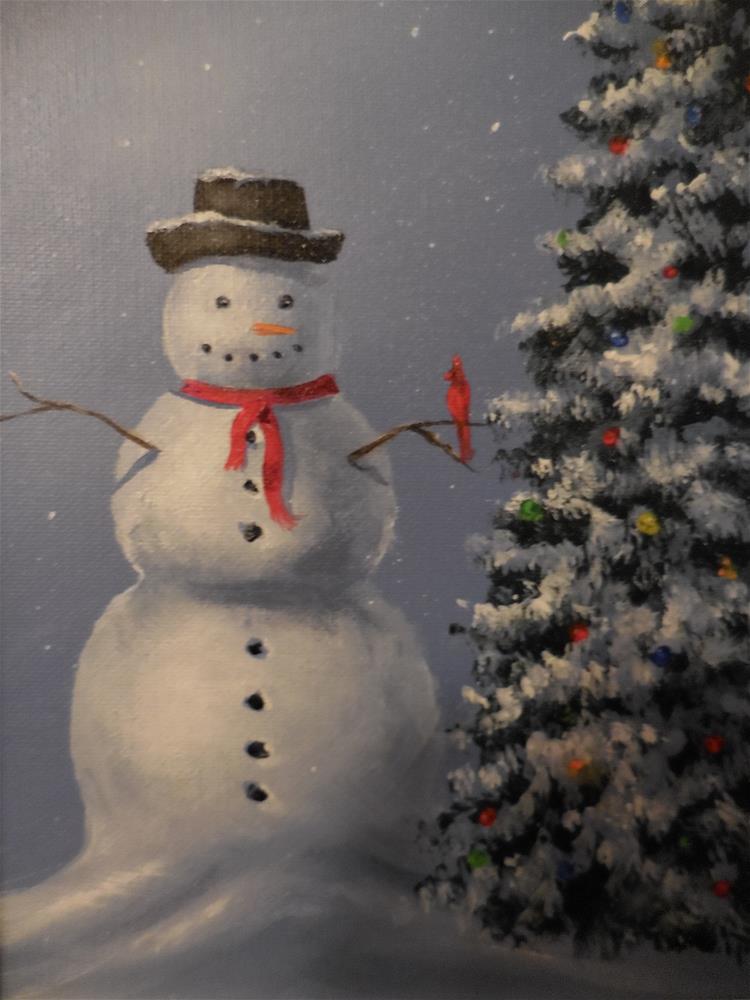 """Mr. Snowman"" original fine art by Terri Nicholson"