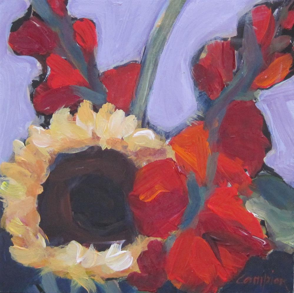 """107. Market Bouquet: a Sunflower and Two Glads"" original fine art by Diane Campion"