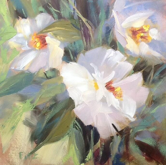 """White Camellia"" original fine art by Charlotte Fitzgerald"