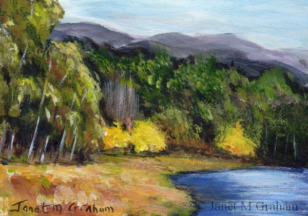 """Autumn Begins ACEO"" original fine art by Janet Graham"