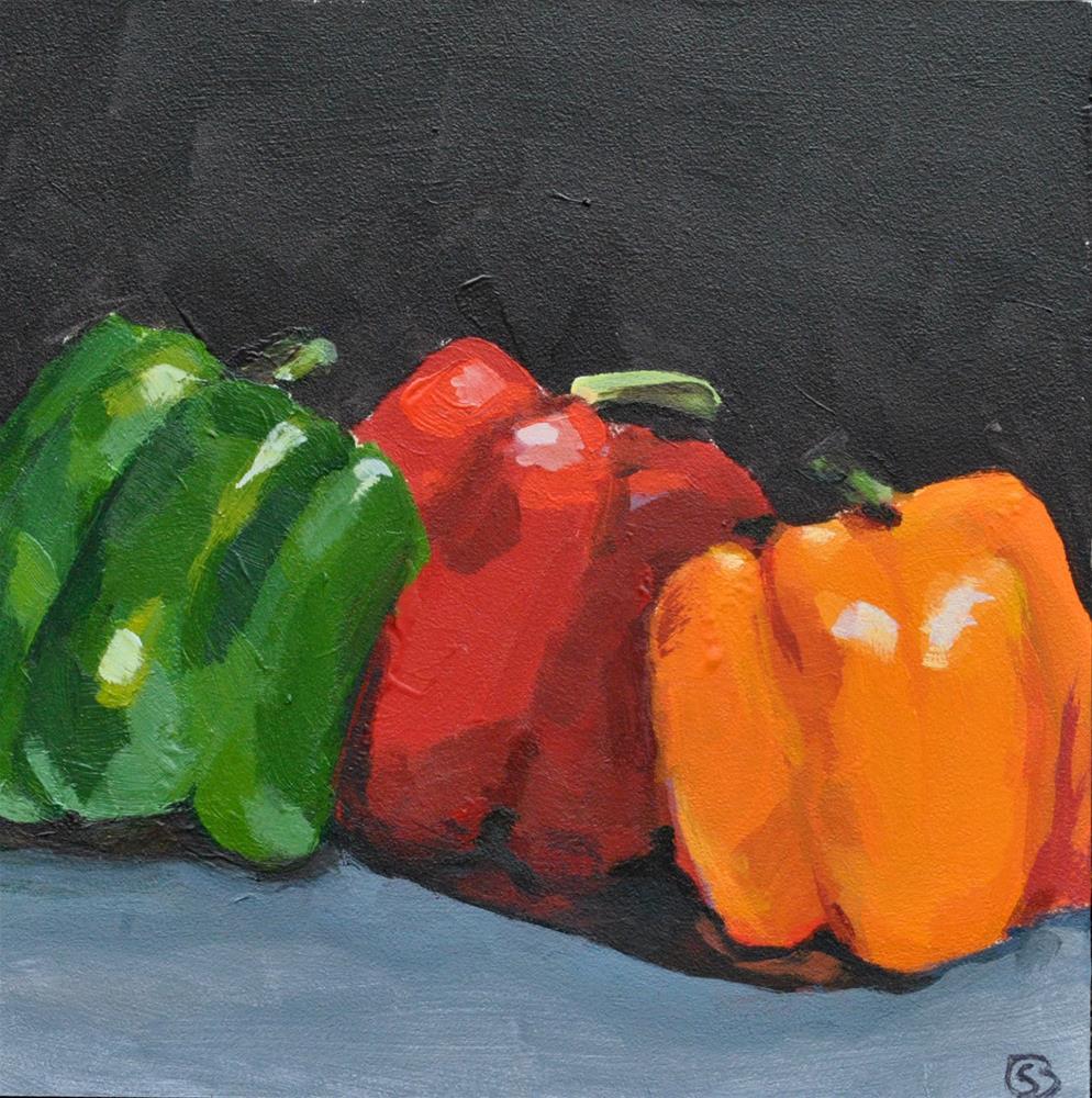 """Three Peppers"" original fine art by Shari Buelt"
