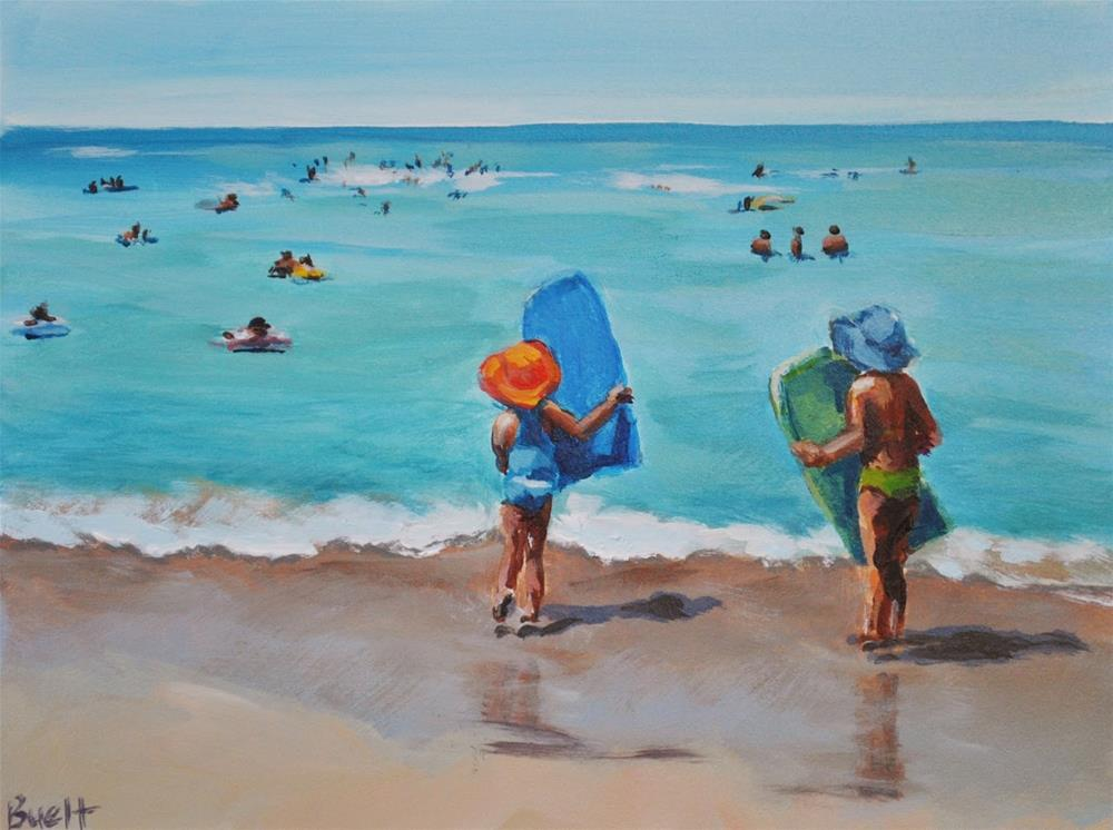 """""""Waikiki Boogie Boarders"""" original fine art by Shari Buelt"""