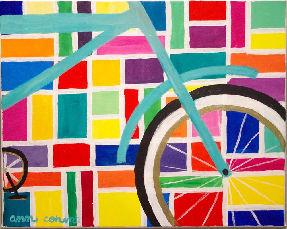 """Teal Bicycle"" original fine art by Ann Cohen"