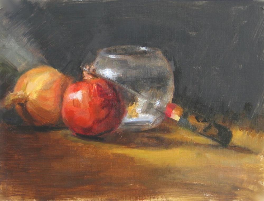 """Glass bowl, pomegranate and knife"" original fine art by Daniel Peci"