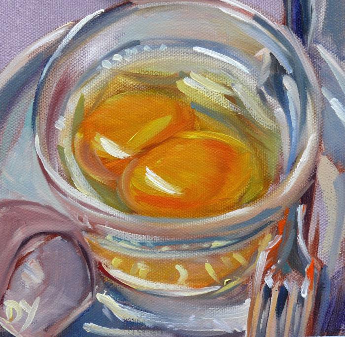 """""""A King's Breakfast, 6x6 oil on canvas board"""" original fine art by Darlene Young"""