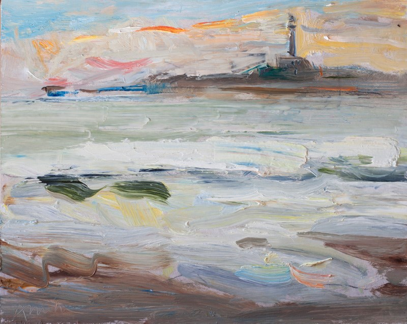 """The sunrise, the sea and the lighthouse"" original fine art by Anna Fine Art"