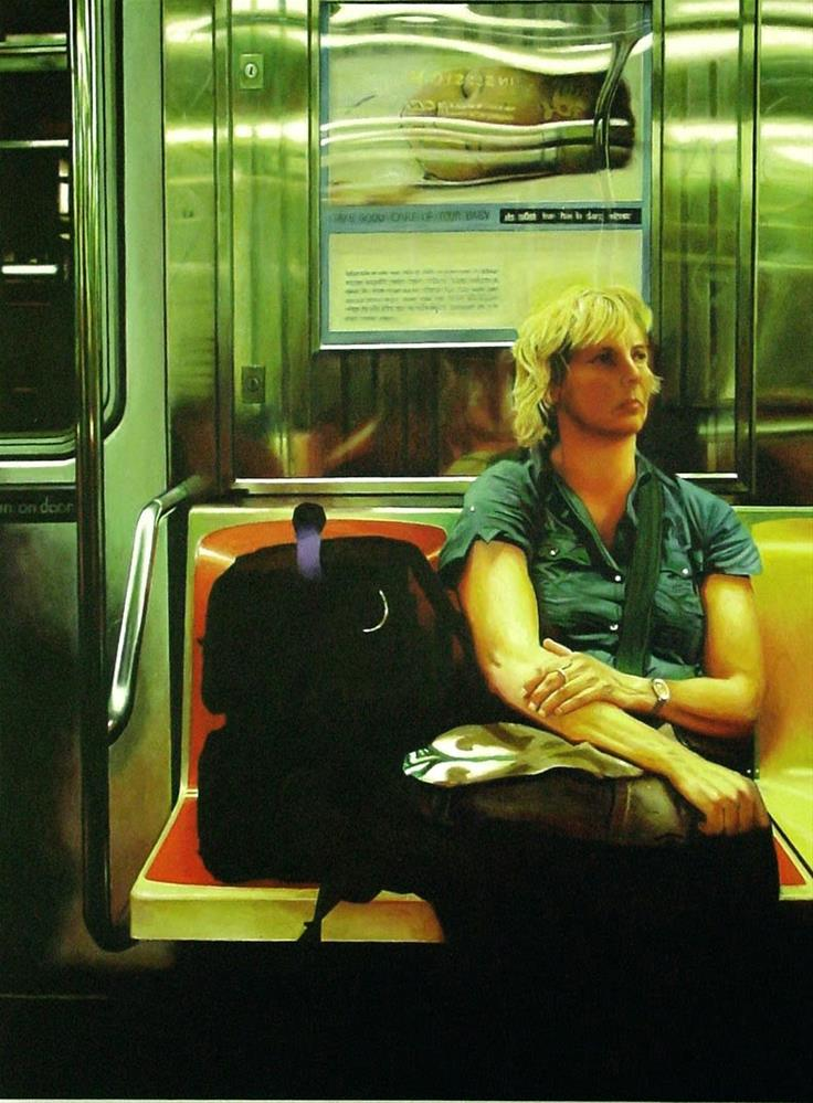 """""""Thoughts- Painting Of Woman Riding The New York Subway"""" original fine art by Gerard Boersma"""