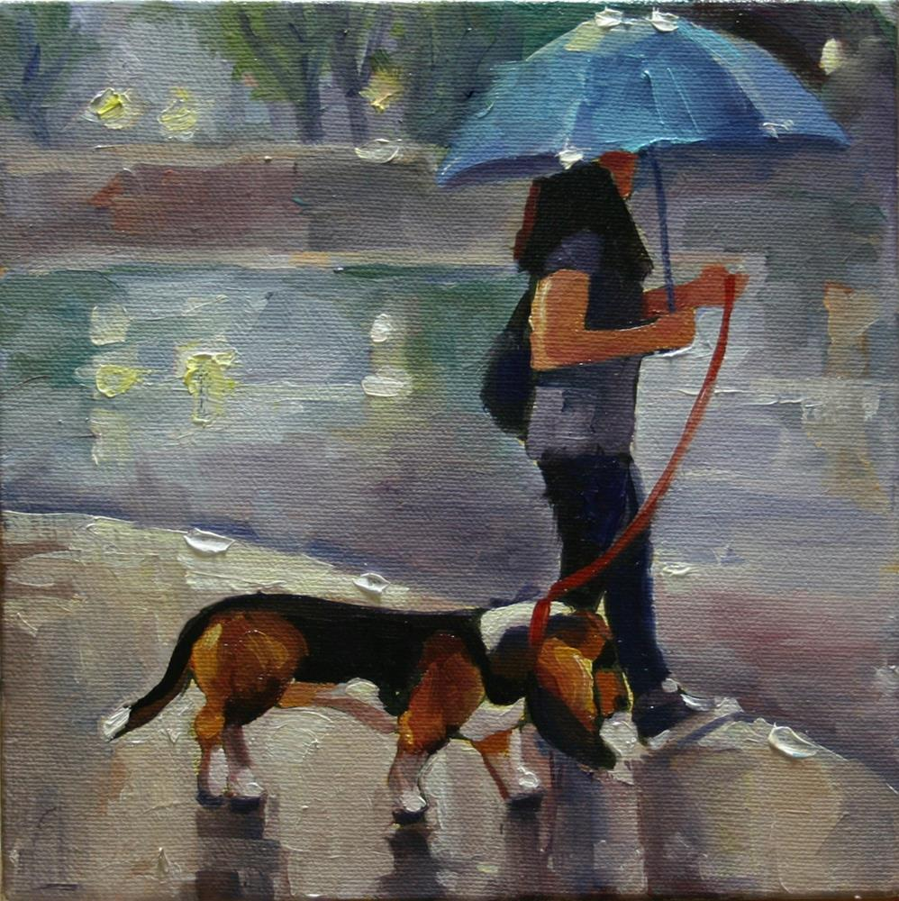 """""""Just Walking in the Rain No1, Front and Wellington"""" original fine art by Catherine Jeffrey"""