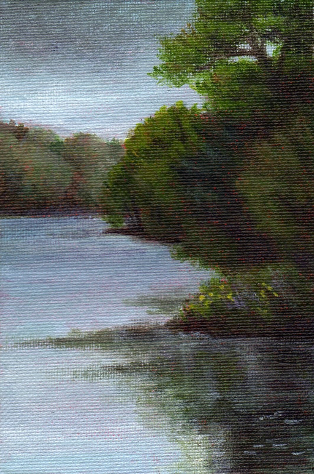 """Grey Day at Stiles Pond"" original fine art by Debbie Shirley"