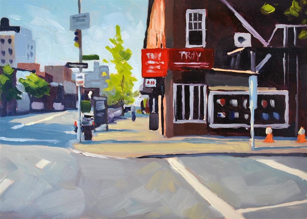 """""""Manhattan Corner - 5x7 painting"""" original fine art by Sharon Schock"""