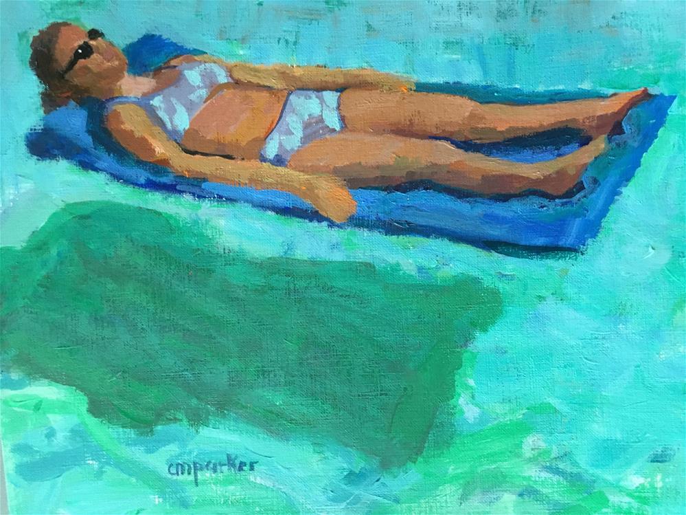 """Girl on a Raft"" original fine art by Christine Parker"